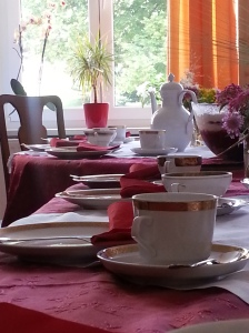 Table set for tea at a friend's home in Germany. It was a beautiful time of sharing our lives.  This created a memory that will stay with me for a long time.