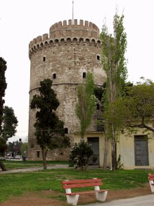 White Tower. This stone structure that sits on the waterfront was originally built to protect the sea walls of the port city, Thessaloniki, Greece. Picture taken by Paul Schell, 2002