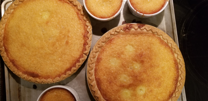 Buttermilk pies just out of the oven.